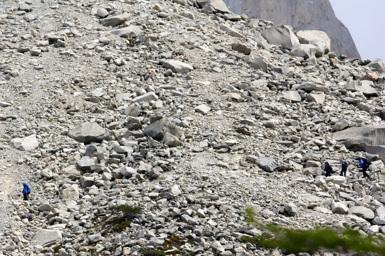 Bare mountain rocks and stones