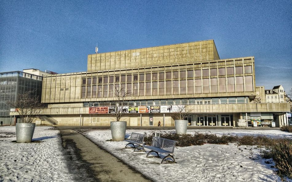 Gera Kulturundkongresszentrum Kuk City Thuringia Wintertime Sun ReflectionsBuilt Structure Hdr_Collection Building Exterior Architecture Eastgermany Clear Sky Outdoors No People Day