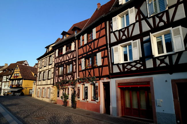 Alsace Architecture Blue Sky Built Structure City City Life Cityscapes Clear Sky Colmar Colmar, Alsace, France Colorful Eye4photography  EyeEm Best Shots EyeEm Gallery EyeEmBestPics Fachwerkhäuser France From My Point Of View Surface Level Tourism Tourist Attraction  Window