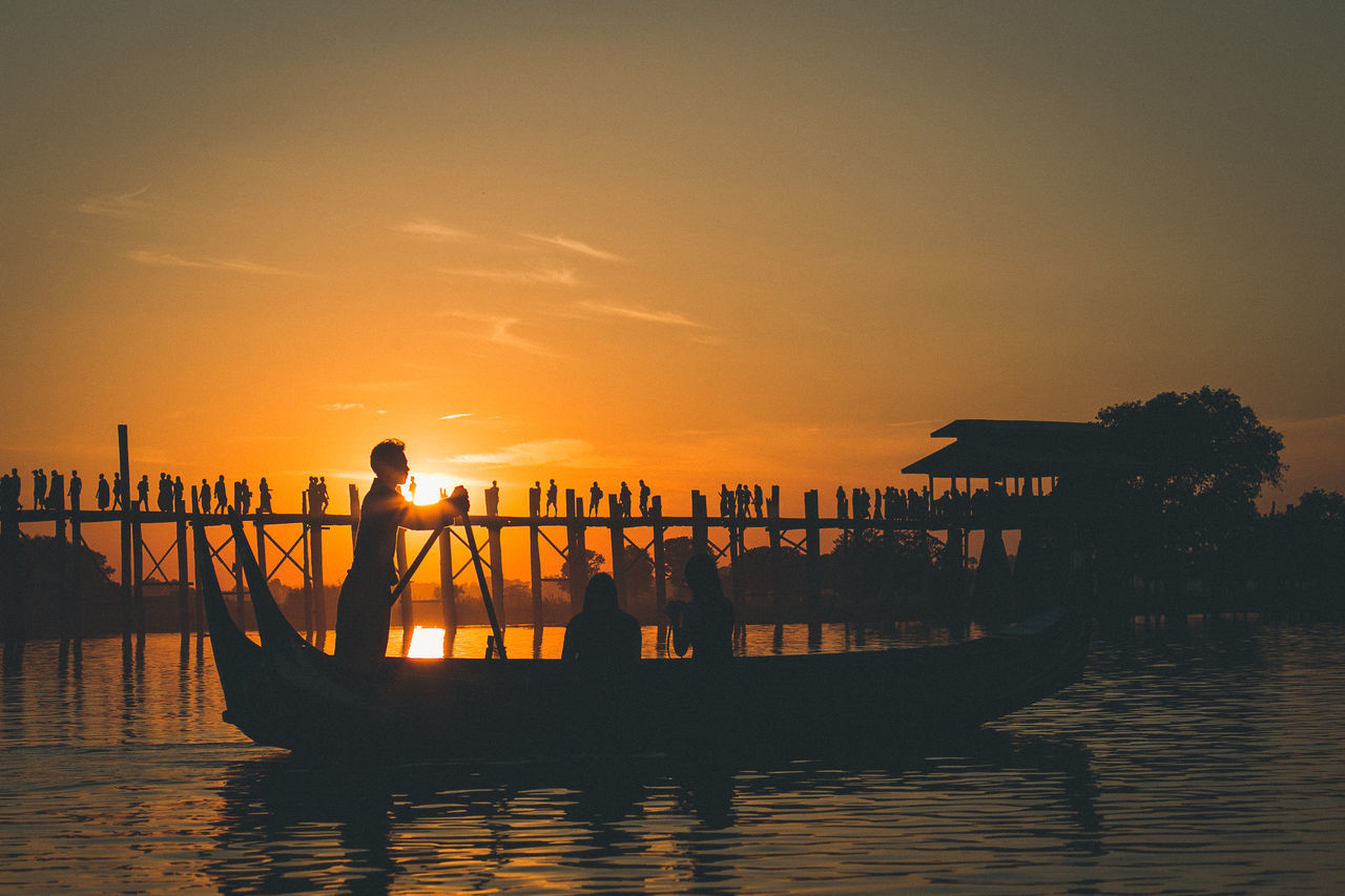 Canon Day Leisure Activity Lifestyles Live For The Story Longtail Boat Men Mode Of Transport Myanmar Nature Nautical Vessel Outdoors Photography Real People Scenics Sea Silhouette Sunset Transportation Travel Destinations