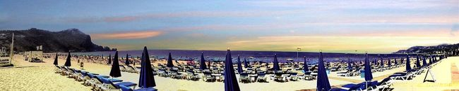 The Bay of Cleopatra Beach Early Morning Blues Sea View Panorama Shot. Sea And Sky After Dawn Empty Beach Empty Sunchairs No People All Shades Of Blue Pastel Sky Colors Alanya/Turkey Showcase July