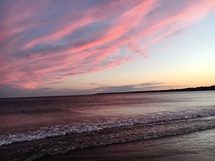 Sunset Sea Beauty In Nature Beach Water Tranquil Scene Horizon Over Water Sand Sky Pink Sky Tranquility Outdoors Cloud - Sky