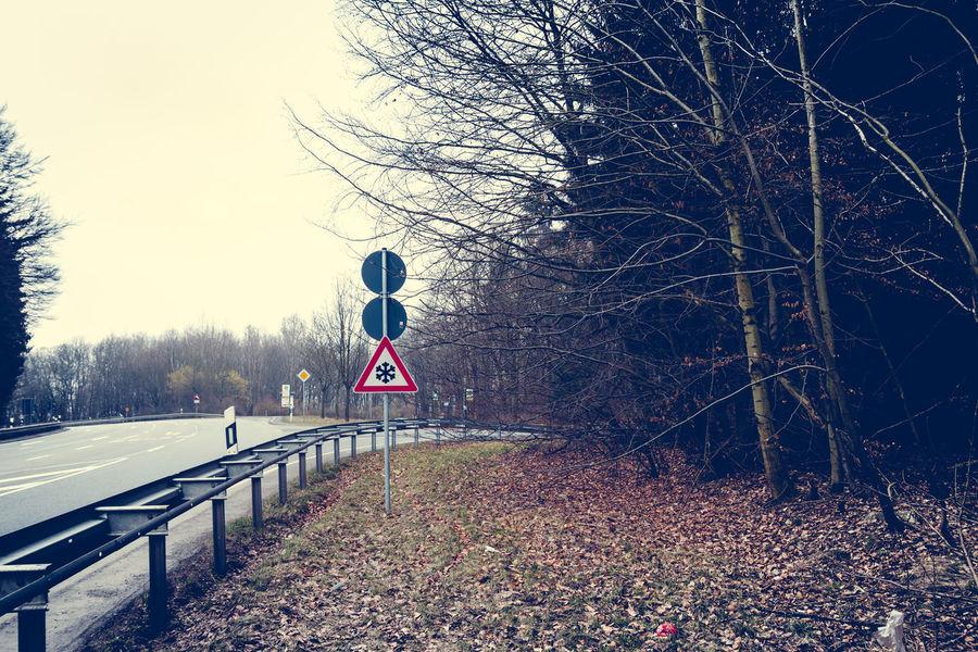 Danger Danger Of Slipping Germany Guardrail Hessen Mountain Road Road Marking Road Sign Season  Sign Slipping Snow Street Taunus Traffic Traffic Sign Winter