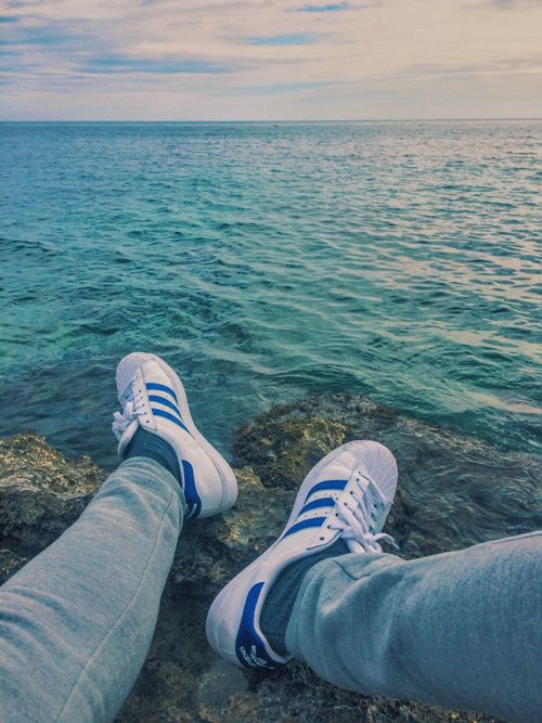 Mediterranean  Sea Sea And Sky Shoes Superstar Adidas Calpe Spain♥ Check This Out Relaxing Taking Photos Enjoying Life Blue Wave