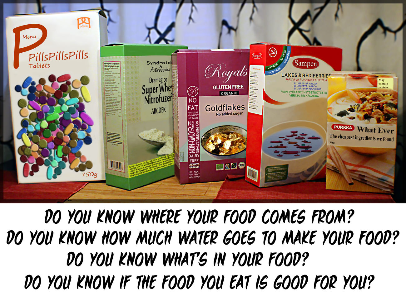 Do you know what you eat? Art Awareness Boxes Cerial Flakes Food Gold Information No People Nutritions Photo Manipulation Pills Product Text Murot Hiutaleet Teksti Ruoka Anti Ad Kuvankäsittely Lisäravinne Ravinto