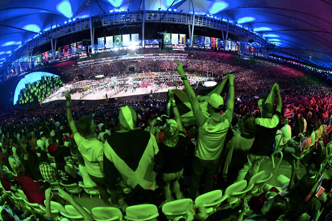 Rio De Janeiro, Brazil, 05 August: Olympic Games 2016 Officially opened with a colorful ceremony at Maracana Stadium in Rio. Celebration Fun Large Group Of People Night Olympic People Sport Stadium