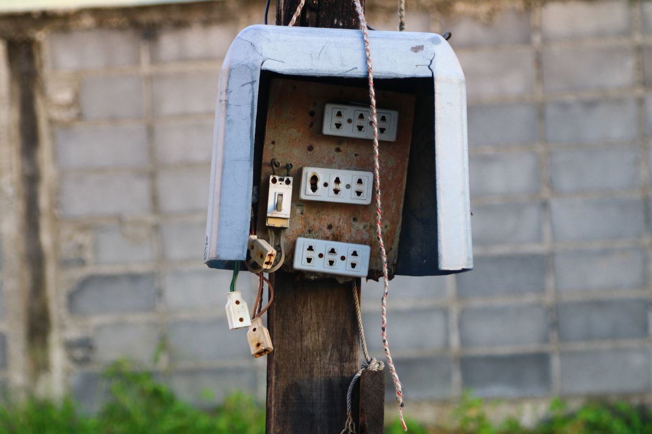 Plugs Focus On Foreground Electricity  Abandoned No People Connection Close-up Day Old-fashioned Outdoors Fuse Box Architecture Technology Birdhouse Architecture House