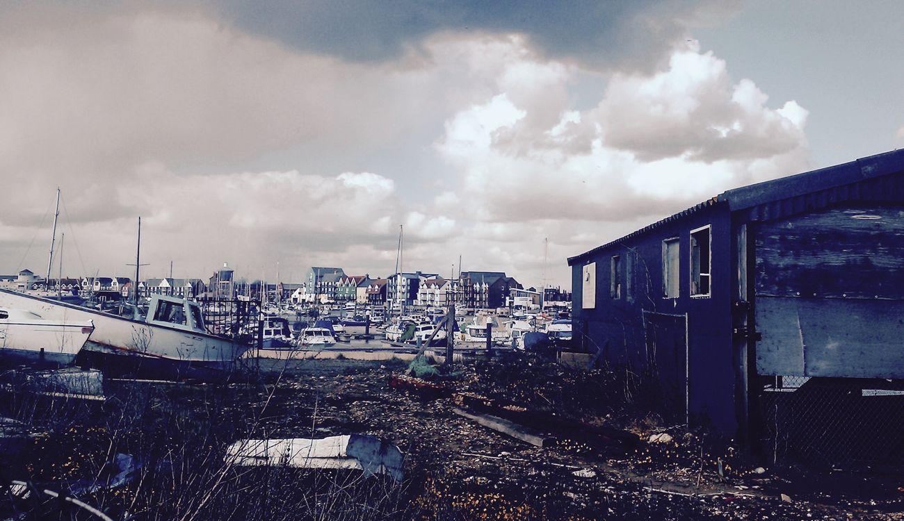 Boats Boatyard Clouds Derelict Stormysky Buildings & Sky
