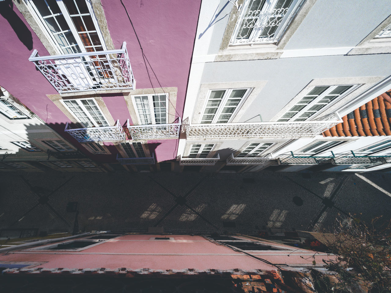 Architecture Balcon Balcony Balcony Shot Balcony View Balconyview Building Exterior Built Structure City Day Lisboa Lisbon Lissabon Narrow Narrow Street No People Old Buildings Old Town Outdoors Pink Building Street Street From Above