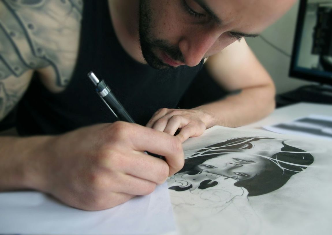 Free drawing today Blackandwhite Hvtattoo Skulls Sketching Pencil Art Woman Inspiration Imagination Igportugal