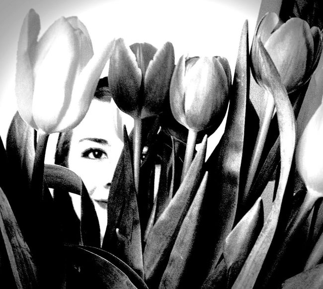 You can hide but your smile will always shine bright. Black & White Person Flowers Hidding Peeking Half Face High Contrast