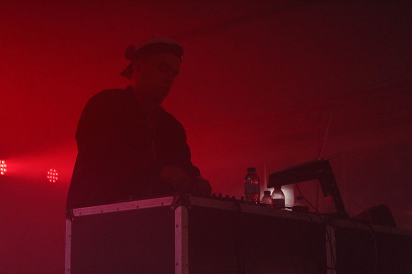 Dj Illuminated Lights And Shadows Low Angle View Music Music Festival Night Occupation Red Silhouette Technology