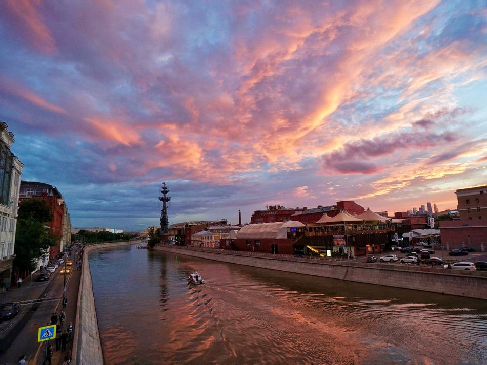 Sunset Sky Cityscape Architecture River Cloud Landscape Moscow Russia Sony A6000