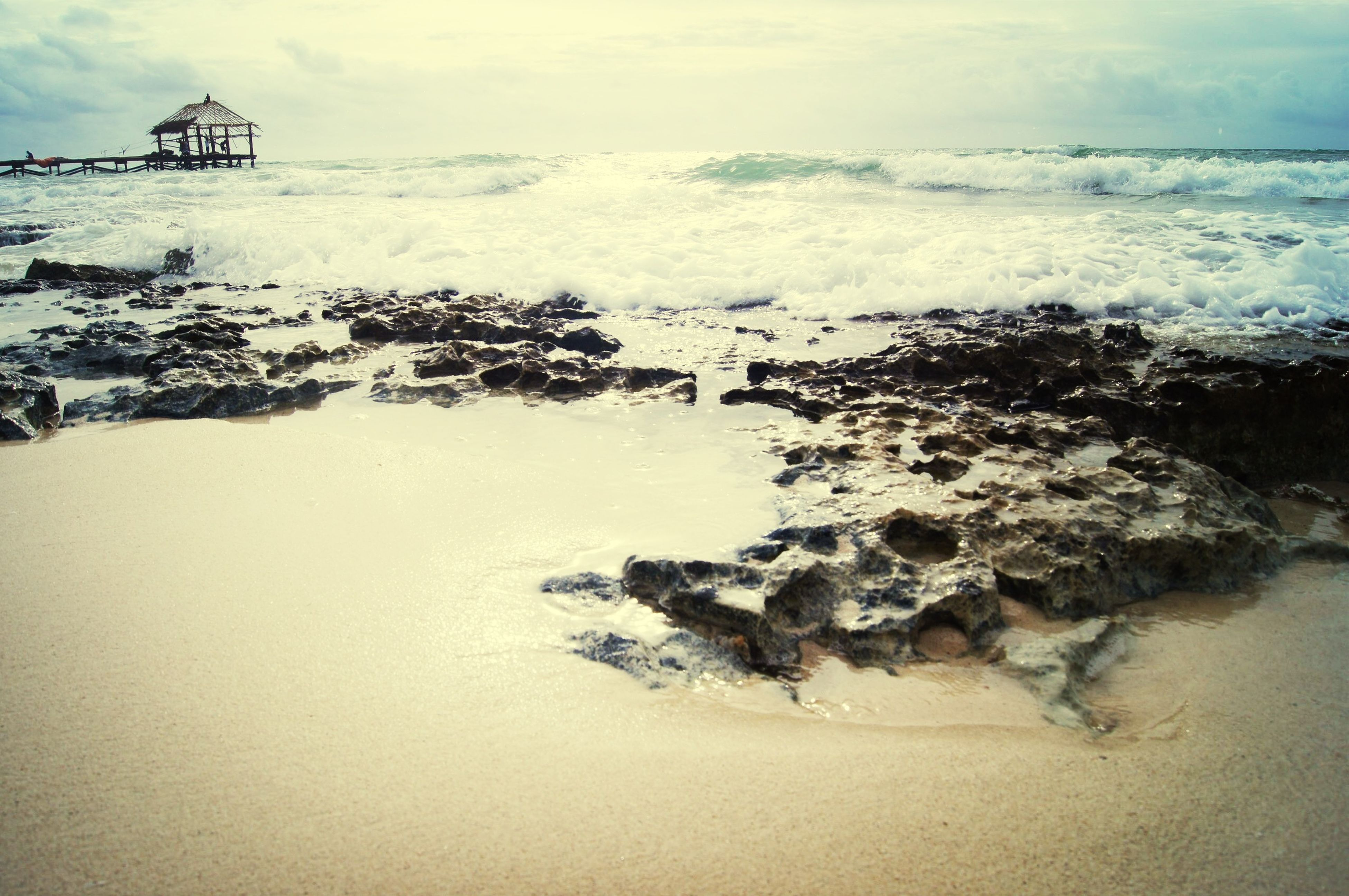 water, sea, horizon over water, scenics, wave, beauty in nature, beach, surf, sky, nature, tranquil scene, rock - object, shore, tranquility, motion, idyllic, splashing, clear sky, cliff, rock formation