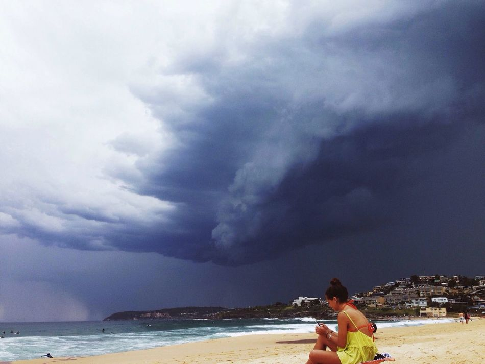 Was a Beautiful Day at the Beach , but mother nature decided otherwise! Stormy Weather Clouds And Sky Throwback Vscocam