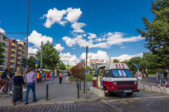 ice-cream shop by the Berlin wall Berlinwall Car City Cloud Mauer People Sky Summer