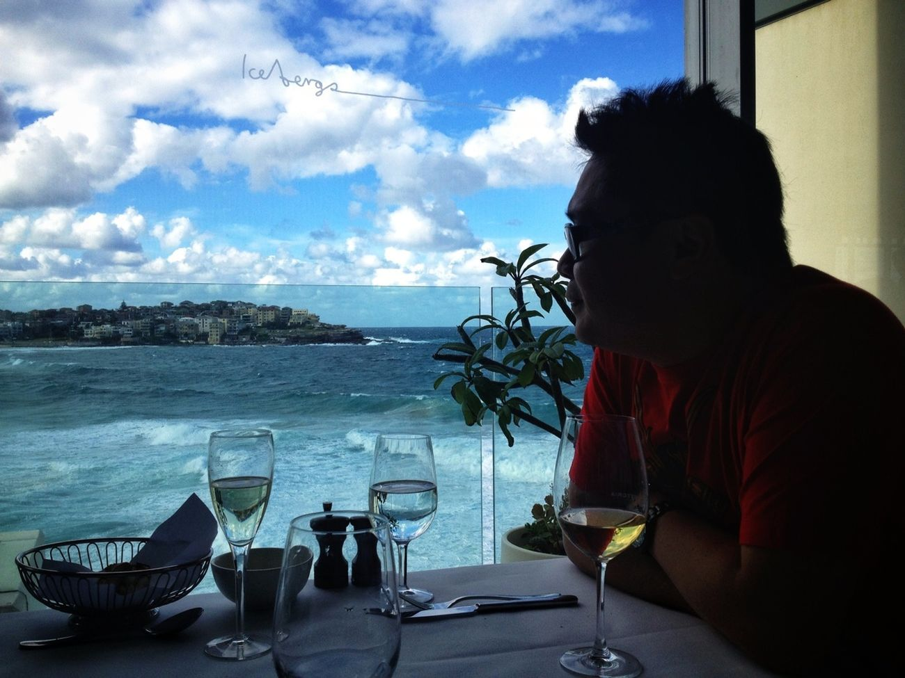 Having a slow seafood lunch at Icebergs, overlooking Bondi. #Sydney