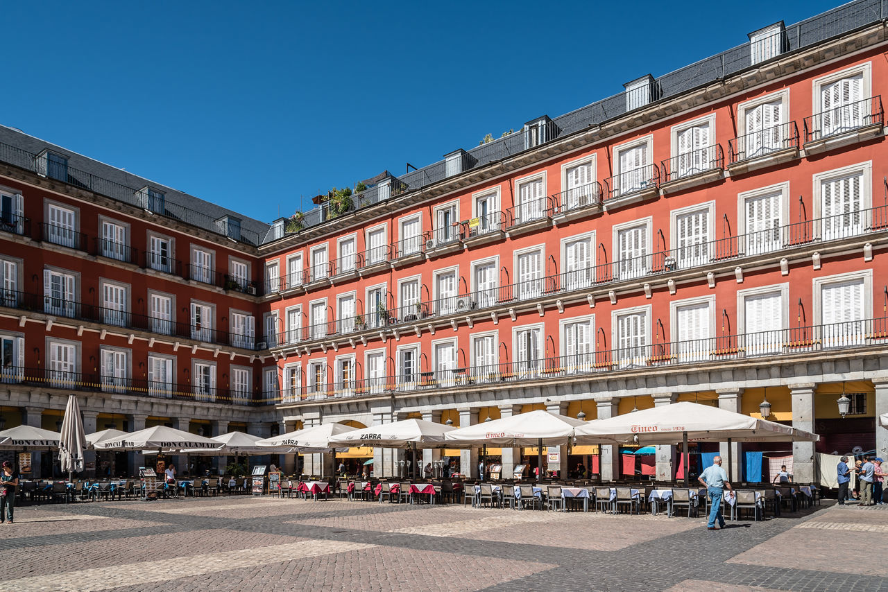 Plaza mayor of Madrid a sunny day of summer Architecture Madrid Place SPAIN Square Tourist Attraction  Tourists Travel Architecture Awning Building Exterior Built Structure Capital Cities  City Clear Sky Day Historical Landmark No People Old Outdoors Plaza Mayor Sky Tourism Tourism Destination Tourist Destination Travel Destinations