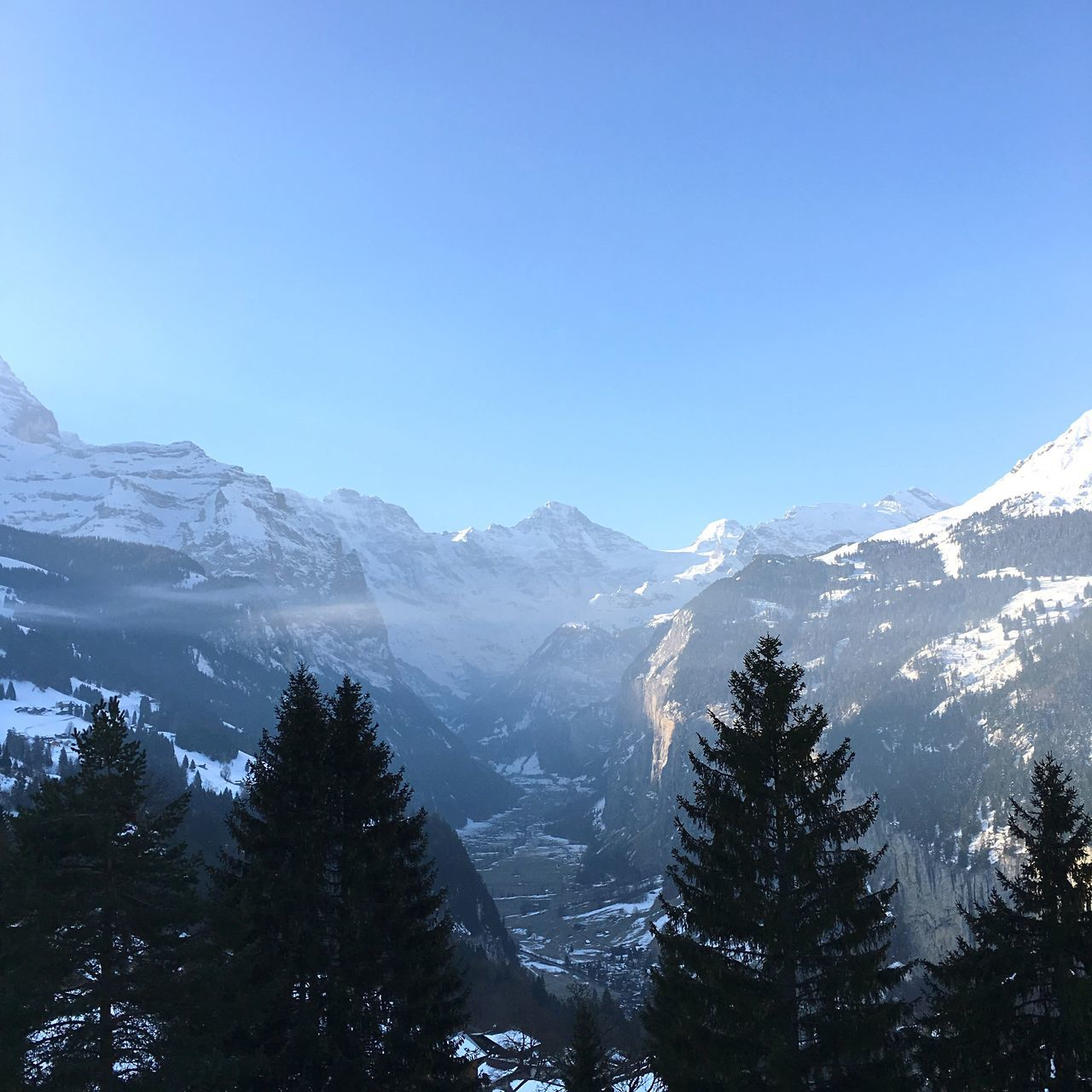 A view of the valley in Wengen , Switzerland . Skiing Holiday Snow