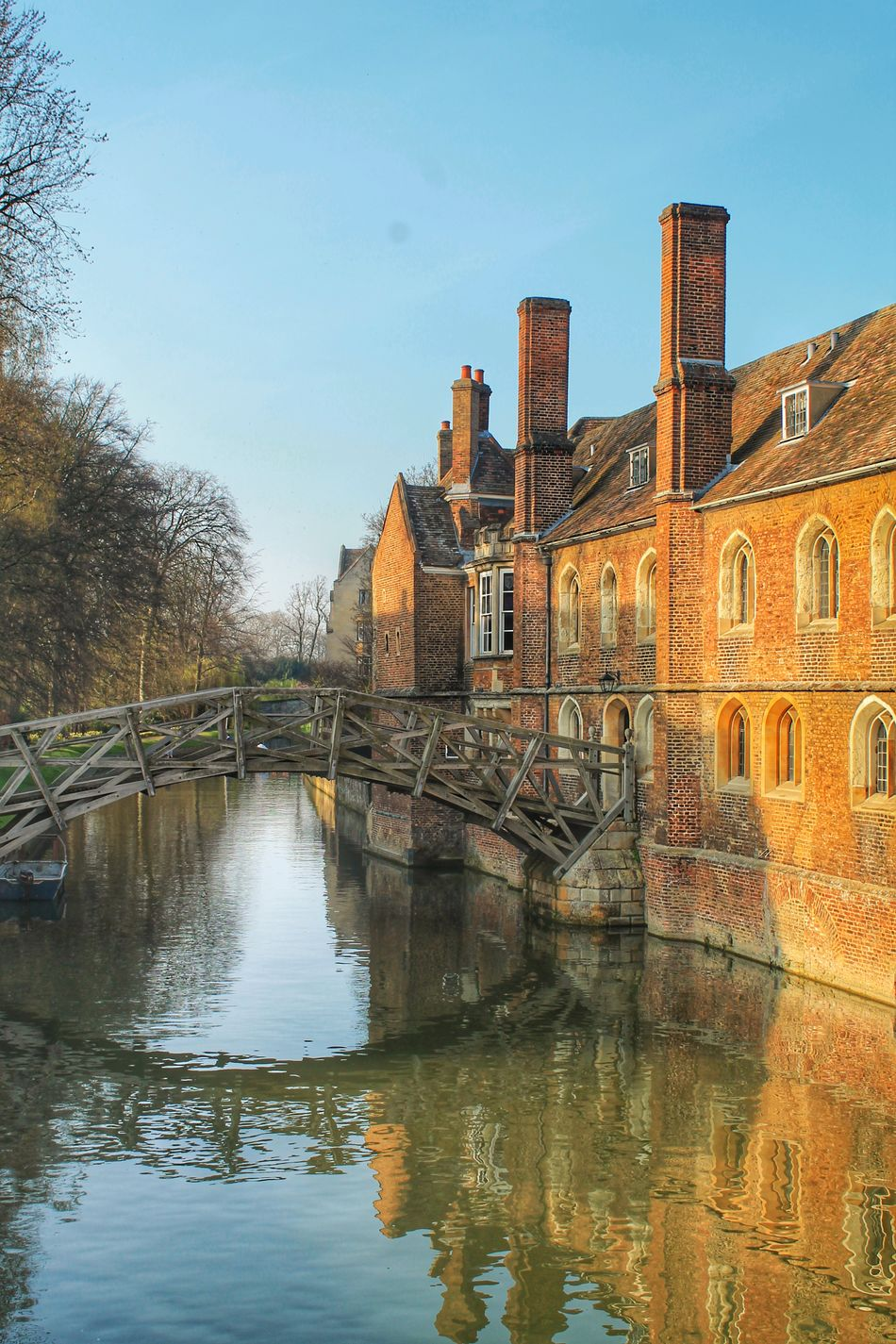 Architecture Boat Brick Bridge - Man Made Structure Building Exterior Built Structure Cambridge Chimney Cross Day England House Mathematical Bridge No People Outdoors Punting River Sky Tree Uk University Water Wood Wooden Bridge