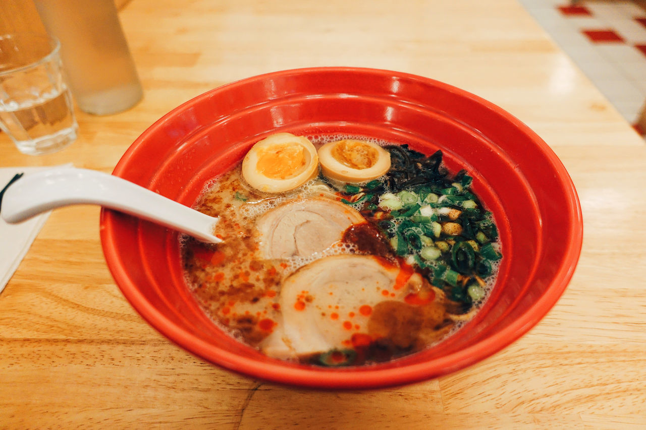 Ramen,,Forever//. Asian  Bowl Close-up Delicious Eating Favorite Food Food And Drink Foodphotography Foodporn Freshness High Angle View Indoors  Japanese  Japanese Food Love Meal Noodles Ramen Ready-to-eat Red Soup Spoon Table Yummy