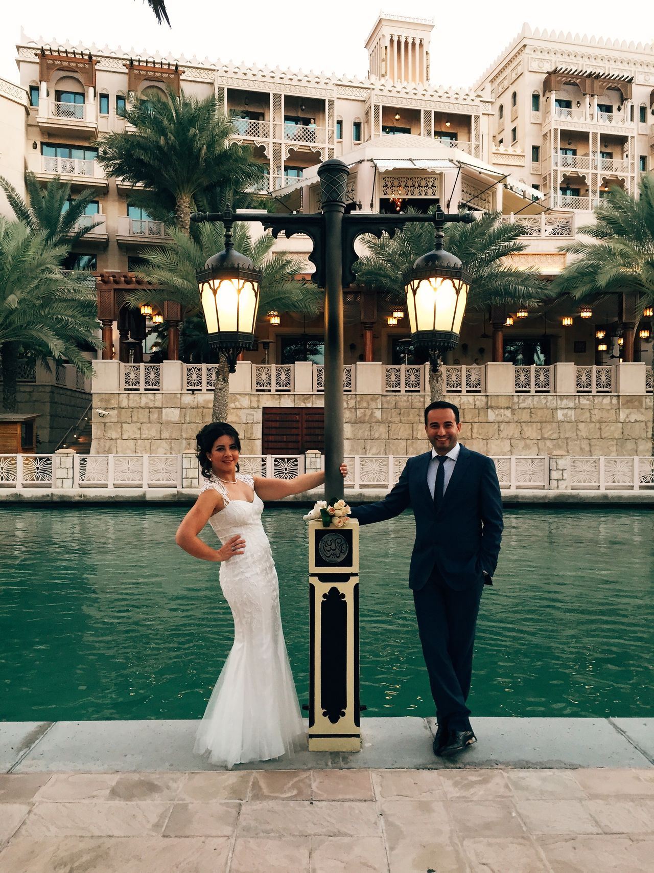 Architecture Built Structure Casual Clothing City City Life Day Dubai Full Length Leisure Activity Lifestyles Outdoors Portrait Tree Water Wedding