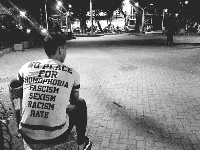 How to be human. Love Monochrome Photography Humaninterest HUMANITY NOH8 Humanrights Lgbt Pride Outdoors Text Night Person Men Lgbt EqualityForAll Equality City City Life Lifestyle Happy Moments Park People And Places