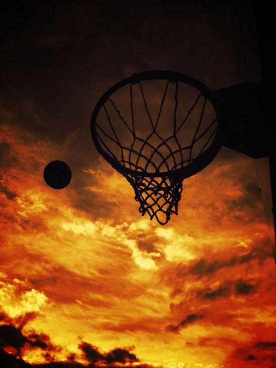 Atmosphere Atmospheric Mood Ball Baller Basketball Basketballer Cloudscape Dark Dramatic Sky Dusk Fitness Hoop Hoops Light Low Angle View Net Orange Color Outline Shiny Silhouette Sky Sport Sports Sun Sunset
