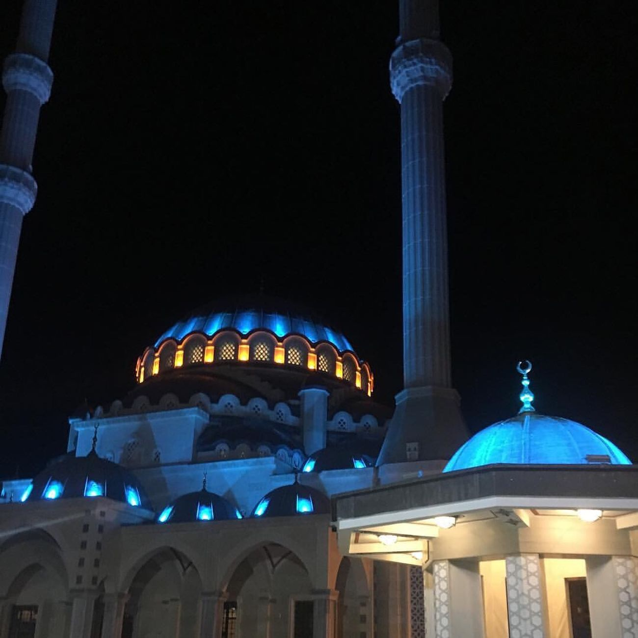 Night Illuminated Architecture City No People Built Structure Outdoors Sky Mosque Blue Traveling Travel Travel Destinations Travel Photography Kilis Türkiye