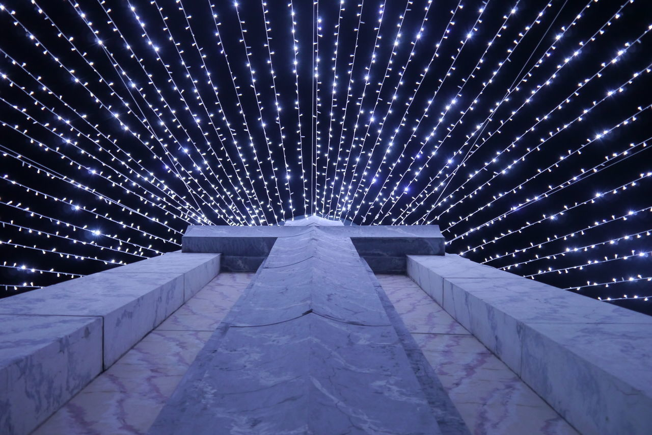 Architecture Christmas Decoration Christmas Lights Cold Temperature EyeEm Best Shots Lights Low Angle View Low Perspective Monument Night Outdoors Pattern Priceless Sparkle Winter