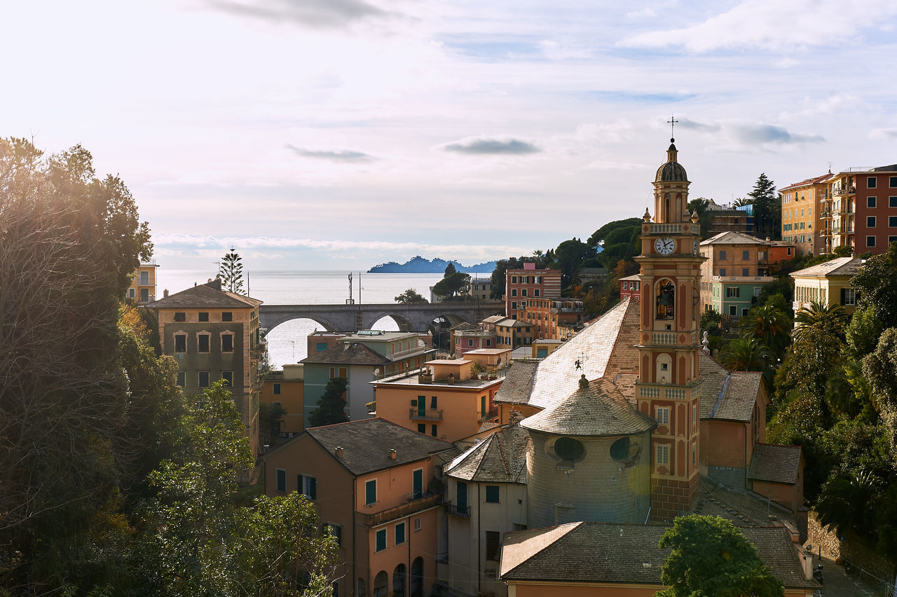 Ancient architecture of Italy, region Liguria. Province of Genoa Ancient Architecture Bridge Building Exterior Built Structure Church Tower Clock Tower Cloud - Sky Coast Europe Italian Riviera Italy Liguria,Italy Mediterranean Sea Old Old Town Outdoors Picturesque Sky Town Travel Destinations