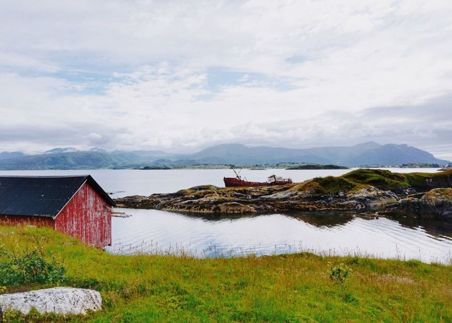 Landscape with ship wreck Landscape_Collection Beautiful Destinations Rural Norway Classic Norway Norway Visitnorway Travel Photography Nature Photography Enjoying Nature Beautiful Nature