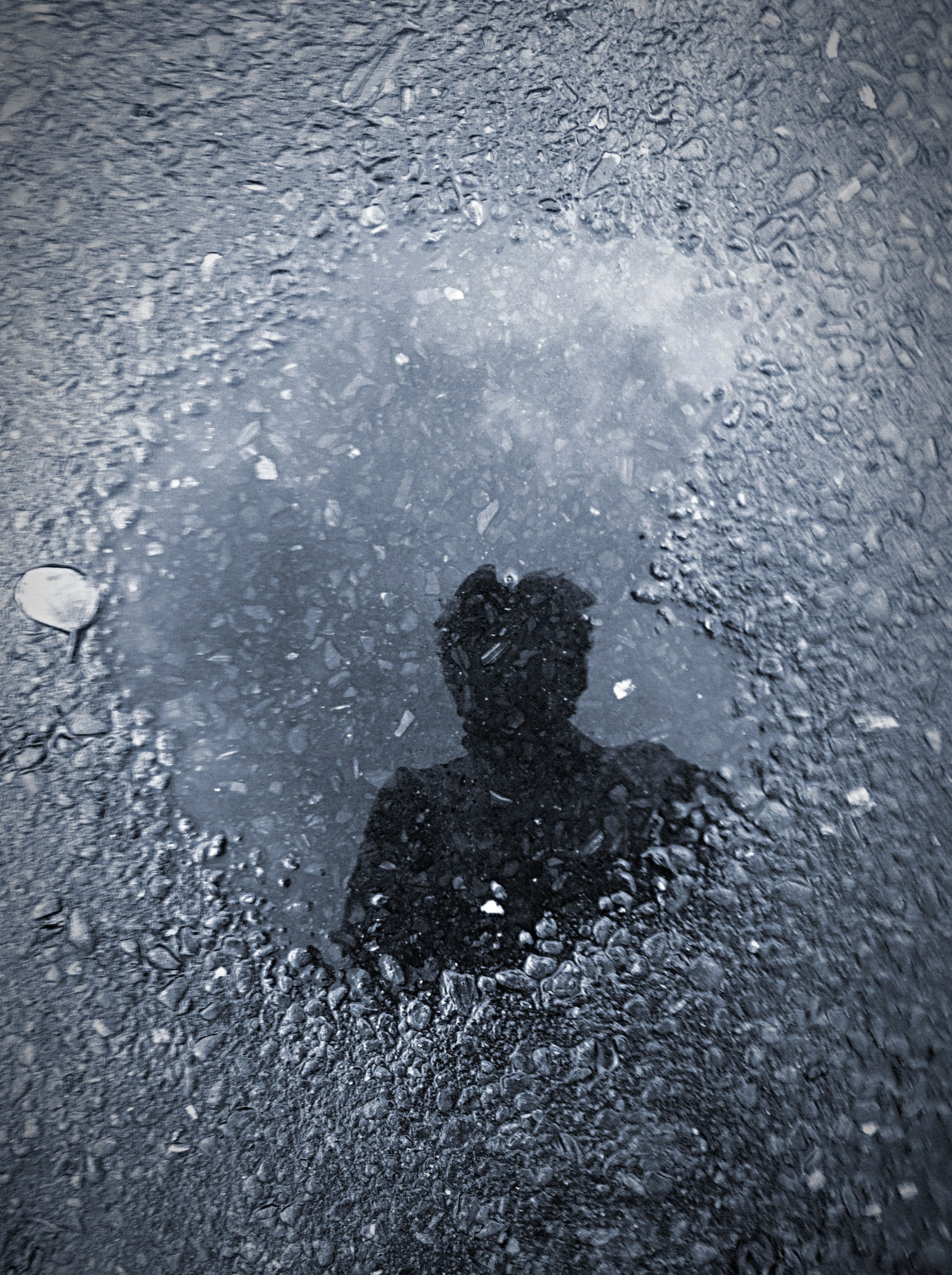puddle, water, wet, high angle view, street, rain, reflection, asphalt, road, unrecognizable person, lifestyles, outdoors, day, weather, men, season, standing, leisure activity
