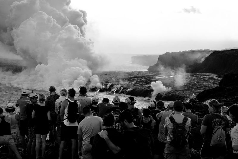 Large Group Of People Crowd People Sea Water Wave Outdoors Day Adult Nature Adults Only Sky Travel Scenics Monochrome USA Travel Destinations Landscape Black And White Friday Vulcano Hawaii Bigislandhawaii Tourist Attraction  National Park Black And White Friday EyeEmNewHere Be. Ready. An Eye For Travel