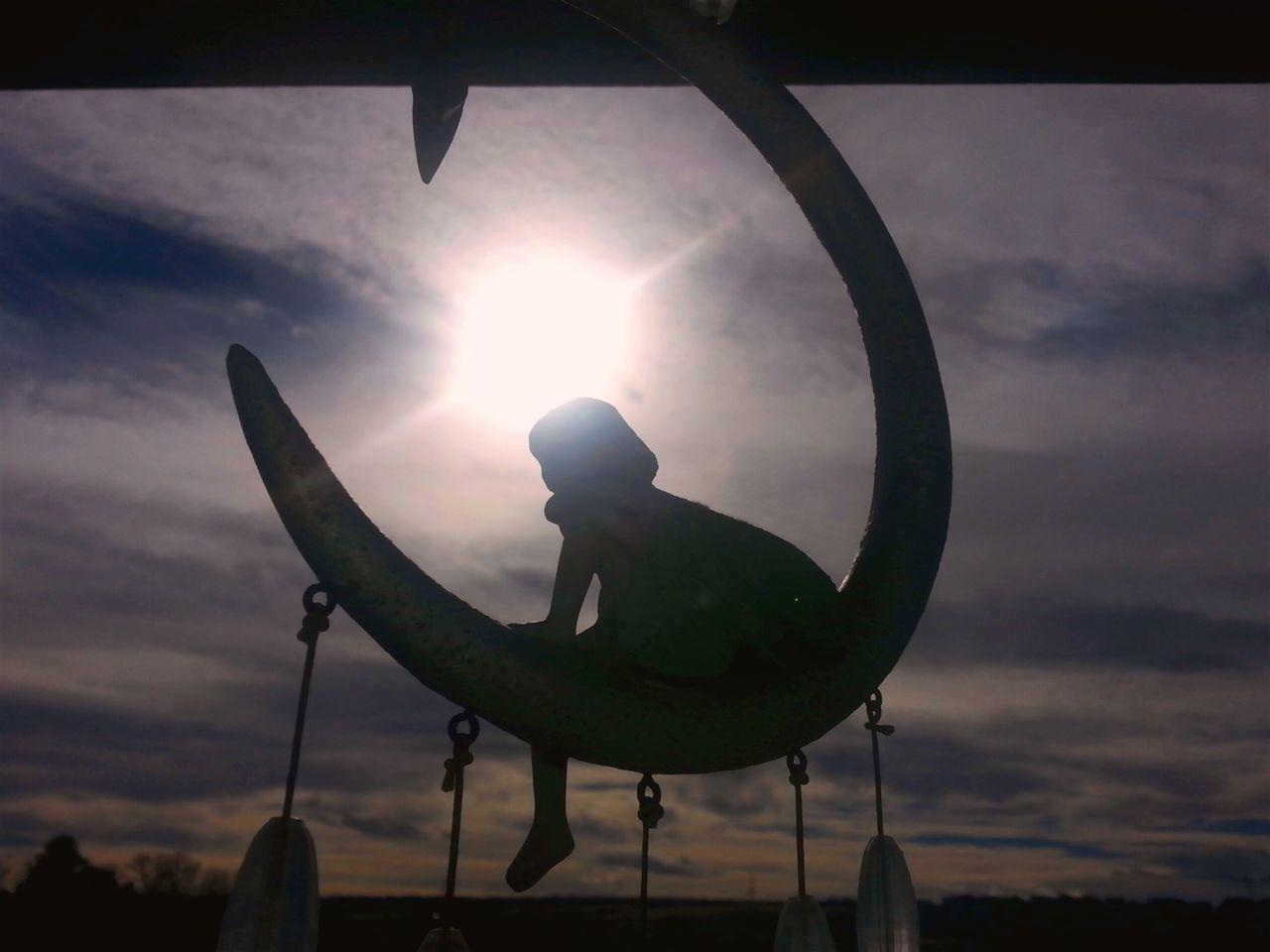 """Fairy chimes at sunset"" (2017) Silhouette Outdoors Sky Cloud - Sky Sunset Dusky Sky Outdoor Photography Tranquility Windchime Sunburst Parker Colorado"