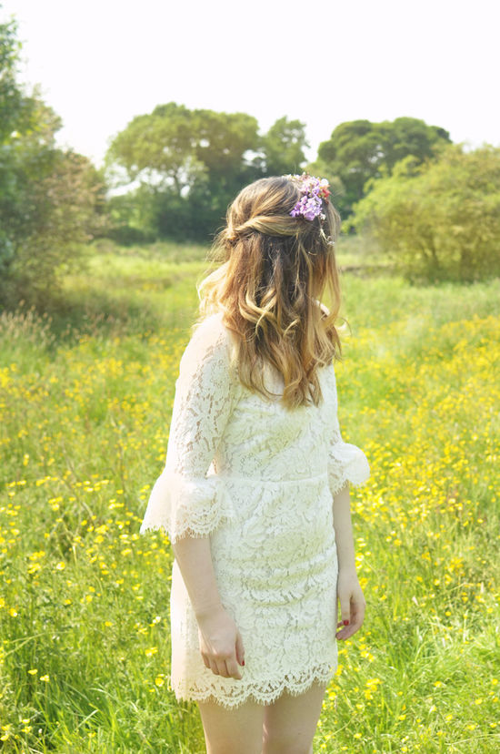 Airy Beauty Beauty In Nature Boho Britain Casual Clothing Countryside Field Floral Flower Focus On Foreground Grass Growth Hippy Lace Lifestyles Long Hair Model Nature Outdoors Portrait Sky Tree