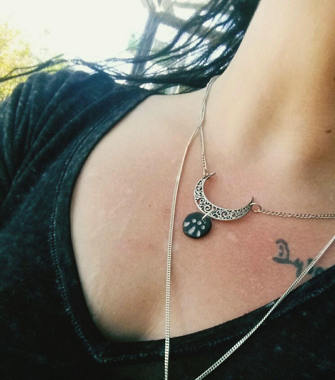 Priestess Necklace Silver  Druid Pagan Crescent Moon DIY Jewelrymaking Handmade Jewellery Jewelry