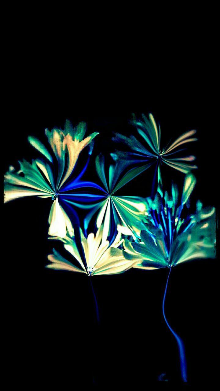 black background, blue, night, multi colored, illuminated, studio shot, close-up, no people, indoors