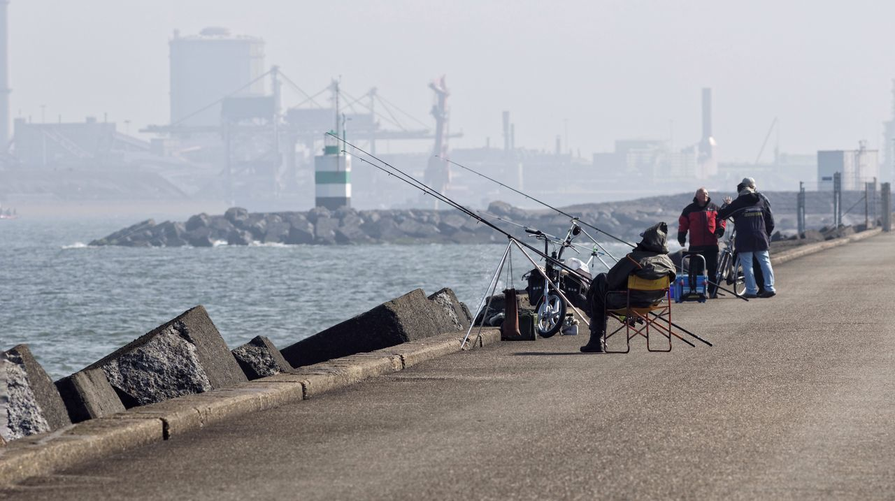 Fishermen Friends Harbour View IJmuiden Tata Steel Factory Dutch Landscape Seascape Hazy