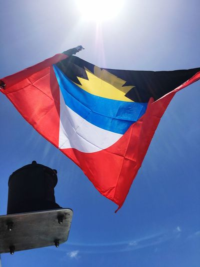 Antigua And Barbuda flag flying off Yacht