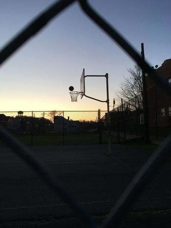 Basketball - Sport Basketball Hoop Clear Sky Court Day No People Outdoors Playing Field Silhouette Sky Sport Sunset Tree