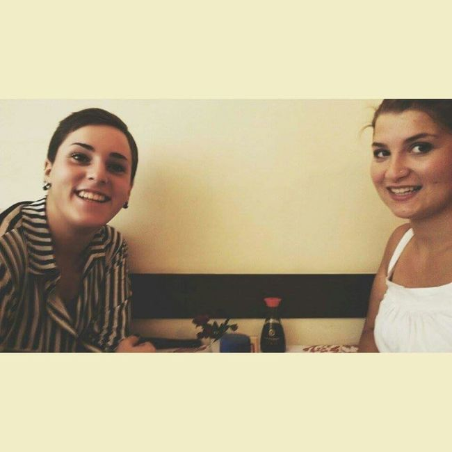 •Two girls that love Japanese food• Amigas Japanese Food Japan Selfies Smile :) We Are The Best!! Love♡ I Love Japan! Salopettes Hereweare