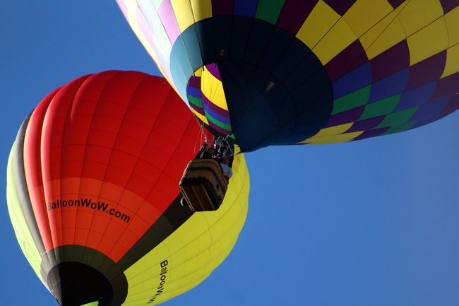 TakeoverContrast Hot Air Balloon Hot Air Balloons Balloons Balloonfiesta  Balloon Fiesta 2016 Albuquerque In The Air Flying Flying High Floating Pair Low Angle View Clear Sky Transportation Adventure Vibrant Color Multi Colored Outdoors