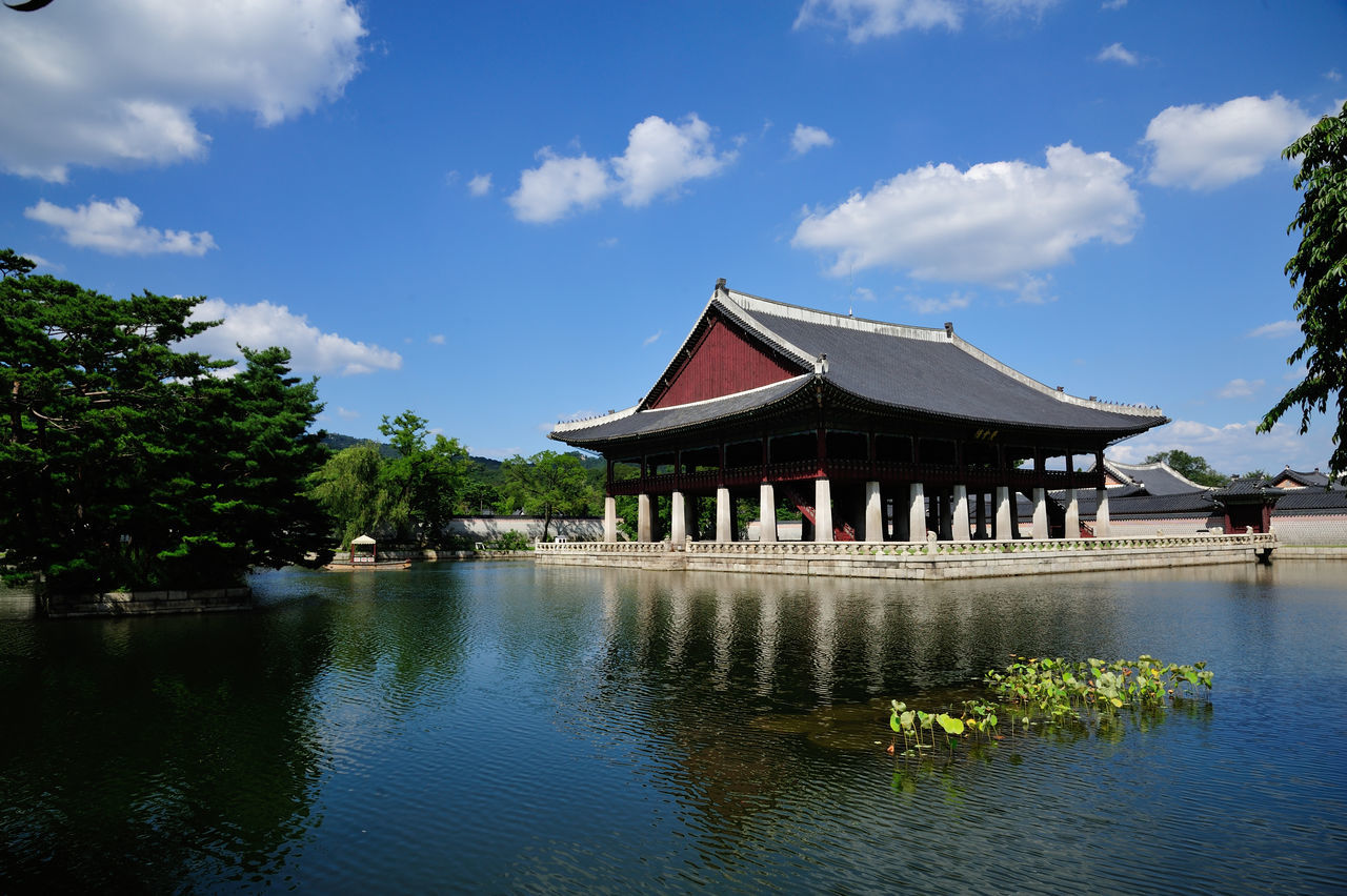 Architecture Reflection Water Sky Built Structure Travel Travel Destinations Blue Cultures Pagoda Building Exterior Day Roof Landscape Outdoors Tradition History Cloud - Sky Seoul Korea Lake Kyong Hoe Roo