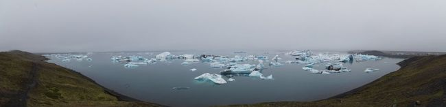 panoramic view of the glacier lagoon jökulsarlon in southern iceland. Beauty In Nature Climate Climate Change Cold Cold Temperature Day Fog Glacier Glacier Lagoon Glacier Lake Ice Iceberg Iceland Jökulsárlón Landscape Nature No People Outdoors Panorama Panoramic Panoramic Landscape Panoramic Photography Panoramic View Sky Water