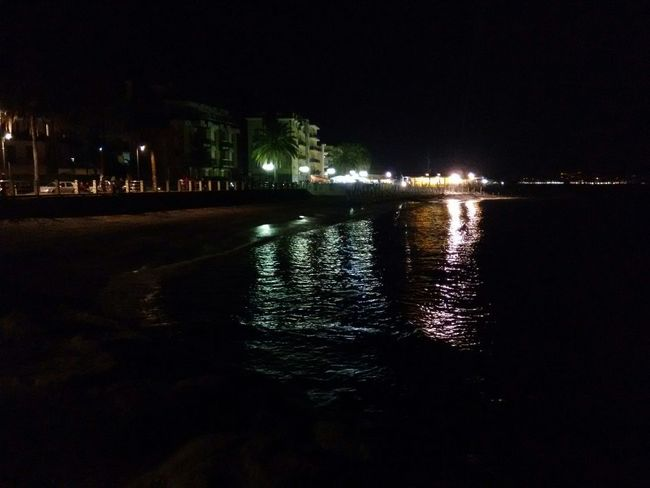 Beatiful Place Nature Beach Night Life Sea And Dark Sky Night Photography Stunning View Reflections In The Water at Albenga in Liguria, Italy