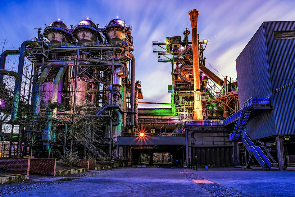 No People Longexposure Industry Illuminated Cultures Steel Factory Lights Night Blue Architecture Blue Hour Factory Multi Colored EyeEmNewHere