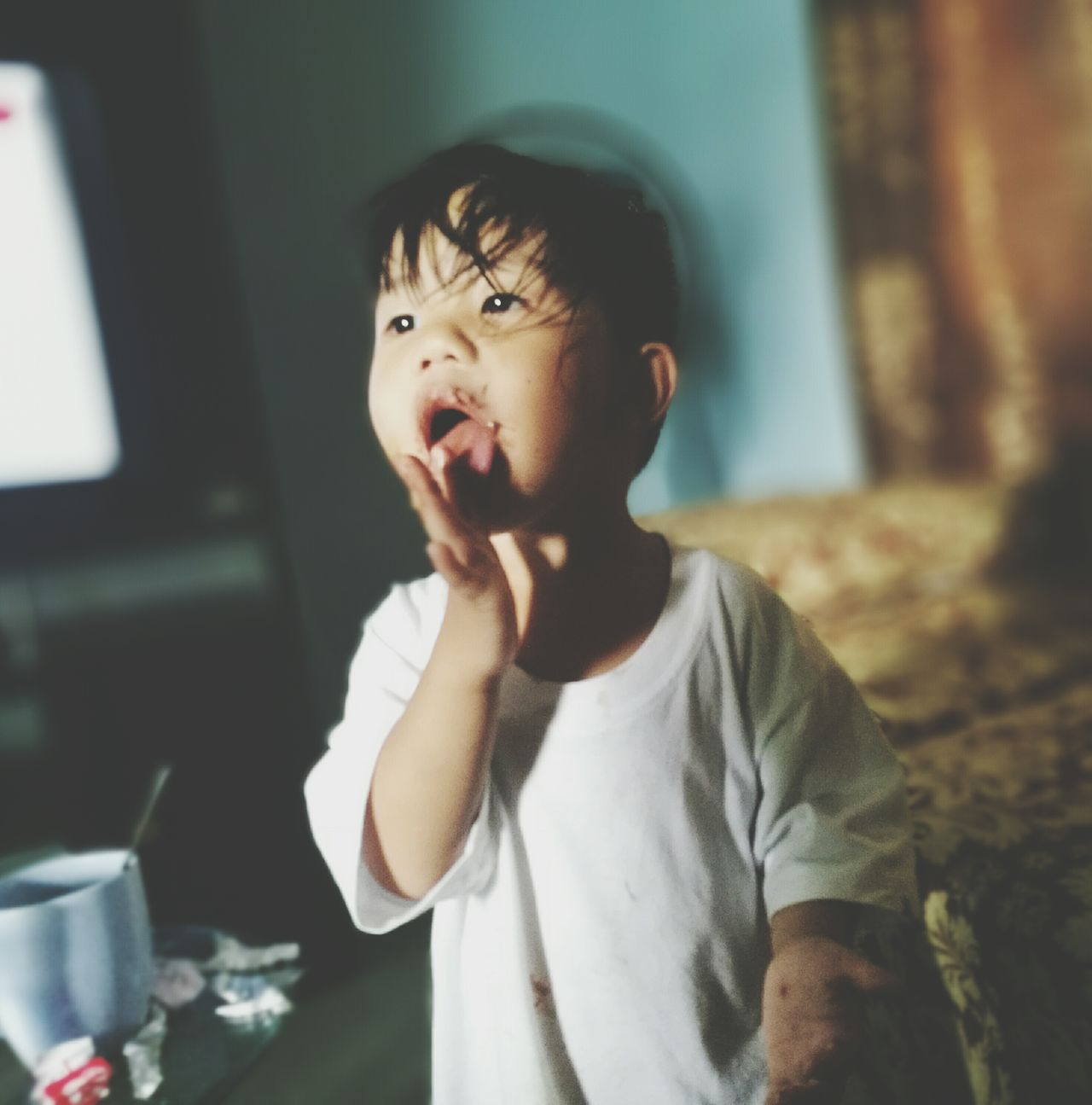 Mouth Open One Person Eating Indoors  Making A Face Kid Photography Kid Kid Eating Chocolate The Photojournalist - 2017 EyeEm Awards