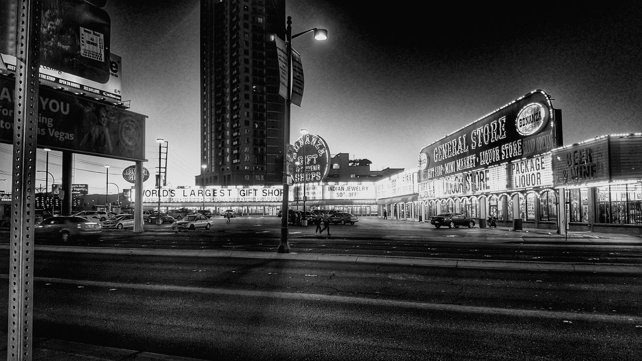 Conferences by day but Viva Las Vegas by Night... Dusk City Neon Sky Illuminated Urban Skyline Outdoors Horizontal People_bw Cityscape Hdr_Collection Bw_collection Snapseed My Year My View