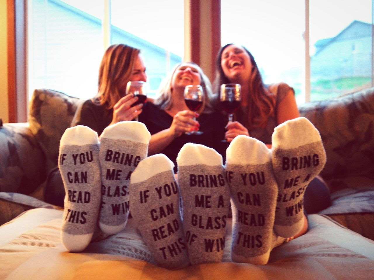 Always Be Cozy TK Maxx Socksie Toes Hilarious Women Adults Only Laughing Out Loud Laughing Text Funny Wine Foot Feet Communication Adult Home Interior Cheerful Young Women People Togetherness Friendship Socks Socksoftheday Socklovers